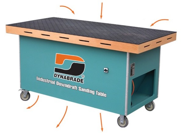 Mobiler Absaugtisch 64204 Dynabrade 230 Volt Umluftreiniger Arbeitsfläche 84 cm x 183 cm