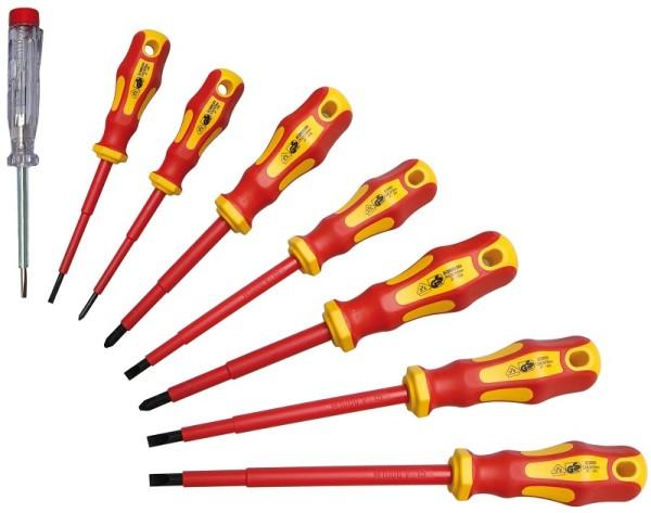 BGS 35838 VDE Schraubendreher Satz 8-teilig mit Spannungsprüfer Elektriker Schraubendreher