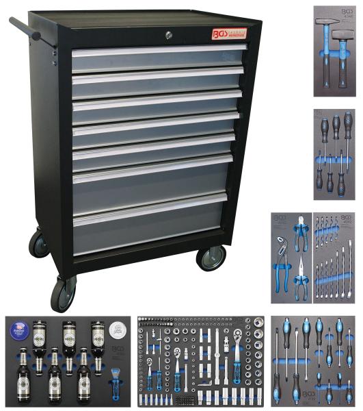 BGS technic 4069 Werkstattwagen | 7 Schubladen | mit 227 Werkzeugen